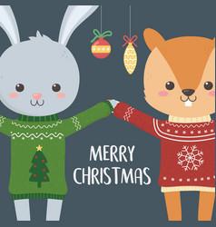 merry christmas celebration funny rabbit vector image