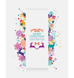 Merry christmas colorful 3d banner vector