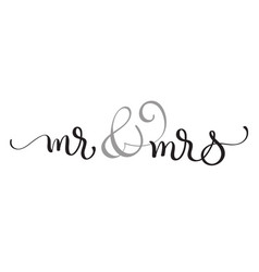 Mr and mrs text on white background hand drawn vector