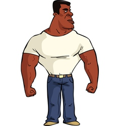 Muscular black man vector
