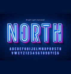 neon light 3d alphabet extra glowing modern type vector image