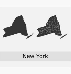 New york map counties outline vector