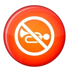 No horn traffic sign icon flat style vector image