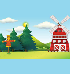 Outdoor scene with windmill and scarecrow vector