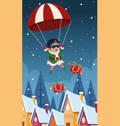 Parachute with santas helper and gift boxes vector