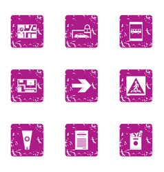 Pave the way icons set grunge style vector