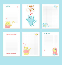 Planner template with cute pet cats vector