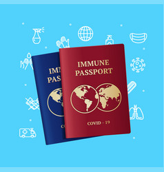 realistic detailed 3d immune passport and thin vector image
