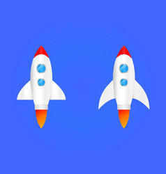 round flat icon rocket seomarketing rocket launch vector image