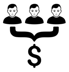 Sad sales funnel customers black icon vector