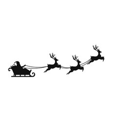 Santa claus is flying in sleigh with christmas vector