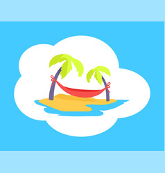seaside with beach and palms vector image