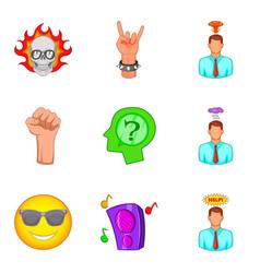 Sensual icons set cartoon style vector
