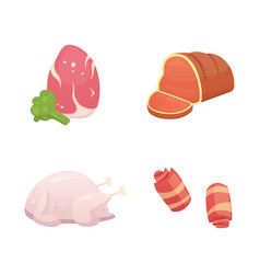 set fresh meat products steak in vector image