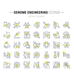 Set line icons genome engineering vector