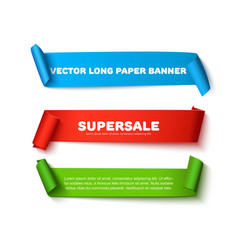 Set of colorful horizontal curved paper ribbon vector