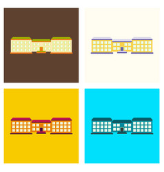Set of isolated city buildings icon public vector