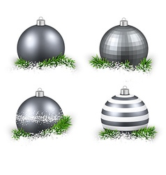 Set of realistic silver christmas balls vector
