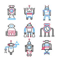 Set of robots for different tasks vector
