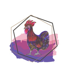 showing rooster new year 2017 vector image