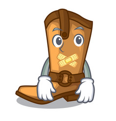 silent leather cowboy boots shape cartoon funny vector image