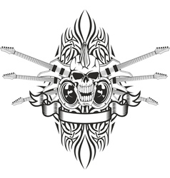 skull crossed guitars and pattern vector image