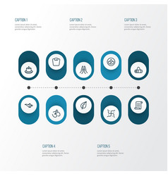 spiritual icons line style set with manuscript vector image