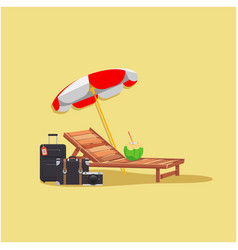 Summer beach umbrella chair baggage coconut yellow vector