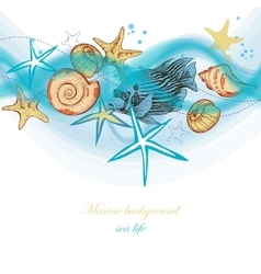 Summer sea waves and marine life holiday beach vector image