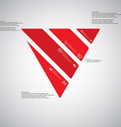 Triangle template consists of four red parts on vector image