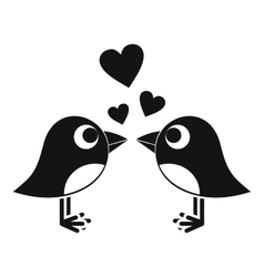 Two birds with hearts icon simple style vector image