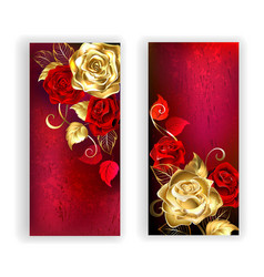 Two Red Banners with Gold Roses vector
