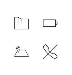 User interface linear icons set simple outline vector