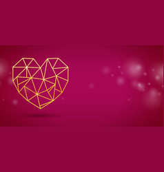 Valentines day banner with with gold heart vector