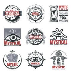 Vintage mystical spiritual emblems set vector