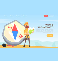 What is archeology landing page template man vector