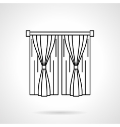 Window curtains flat line icon vector