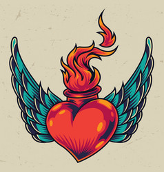 Winged fiery red heart concept vector