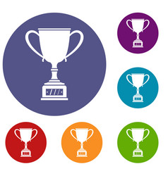 winner cup icons set vector image