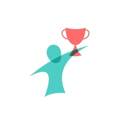 winner with cup icon logo design vector image
