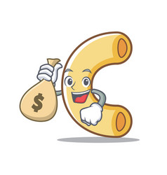 With money bag macaroni character cartoon style vector