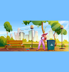 woman clean up city park girl collect garbage vector image