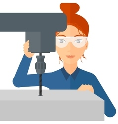 Woman working with boring mill vector image