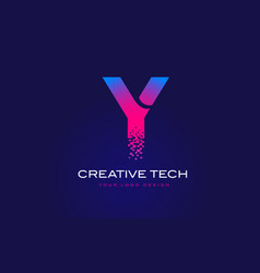 y initial letter logo design with digital pixels vector image