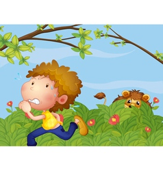 A scared boy running vector image vector image