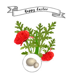 easter floral background with poppies vector image