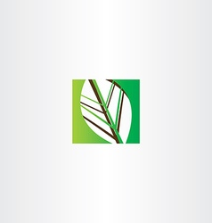 green square leaf icon vector image vector image