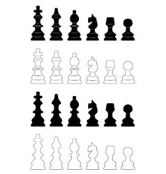 set of different chess pieces vector image