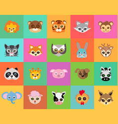 animal carnival collection of cartoon masks vector image vector image