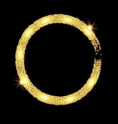 Gold glitter circle banner with stars vector image